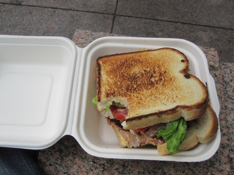 An organic turkey club sandwich