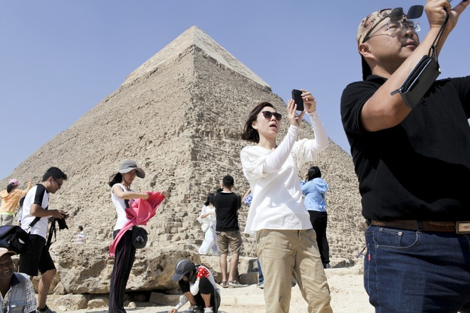 Giza Pyramids with tourists
