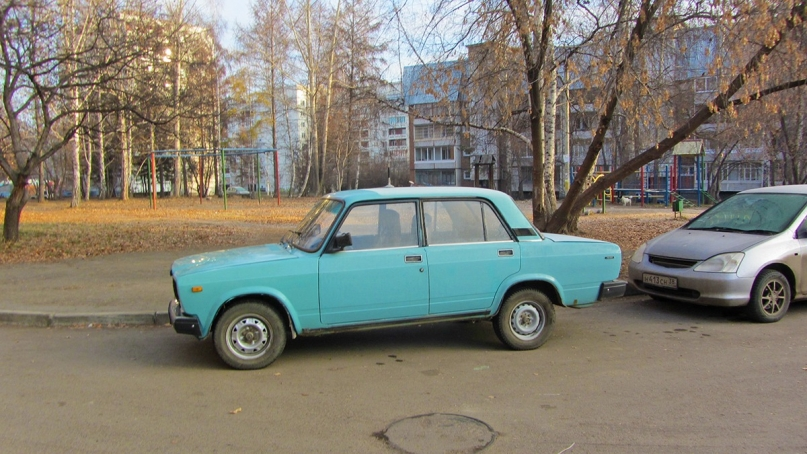 A blue Lada in Irkutsk