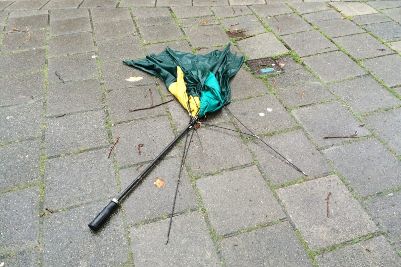 Umbrella torn to shreds