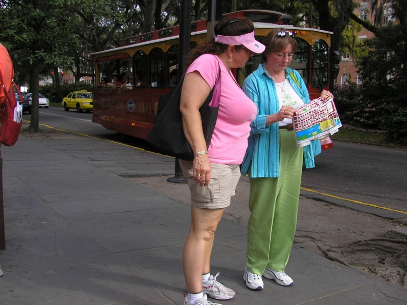 Tourists with fold-out map