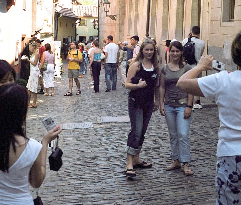 Tourists picture busy area